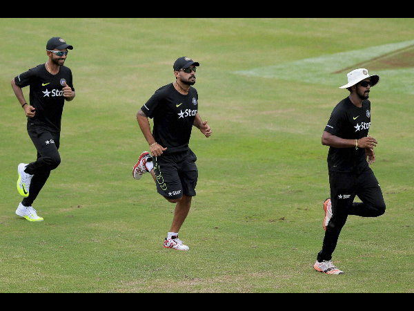From left: Ajinkya Rahane, Murali Vijay and KL Rahul during training