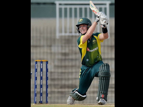 Adam Zampa plays a shot on way to a half century against India A