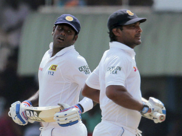 File photo: Mathews (left) and Sangakkara take a run during a Test match against Pakistan in Galle, in August 2014
