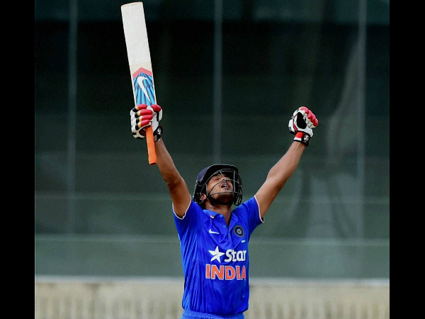 Mayank Agarwal celebrates his ton against South Africa A