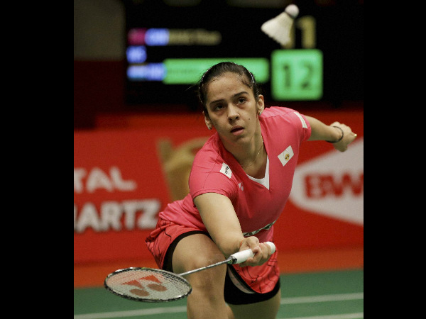 Saina Nehwal in action during her quarter-final match against Wang Yihan