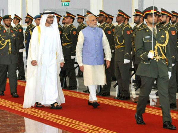 PM Modi inspecting Guard of Honor in Abu Dhabi