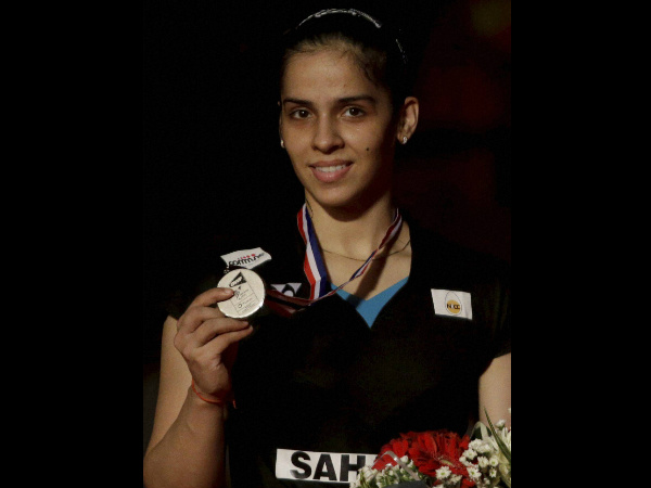 Saina Nehwal poses with her silver medal