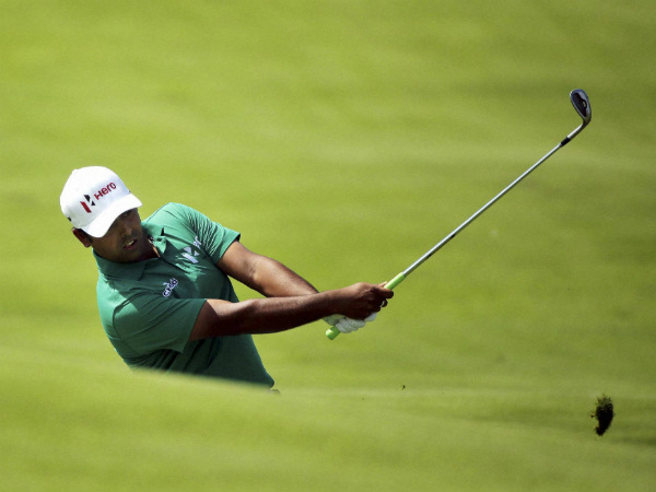 Anirban Lahiri hits a shot on the 10th hole during the first round of the PGA Championship