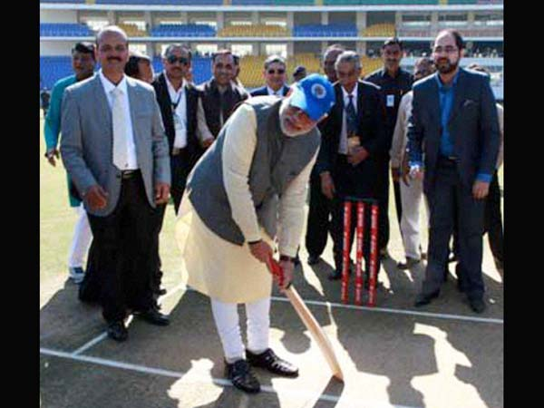 Modi on cricket field (File Photo)