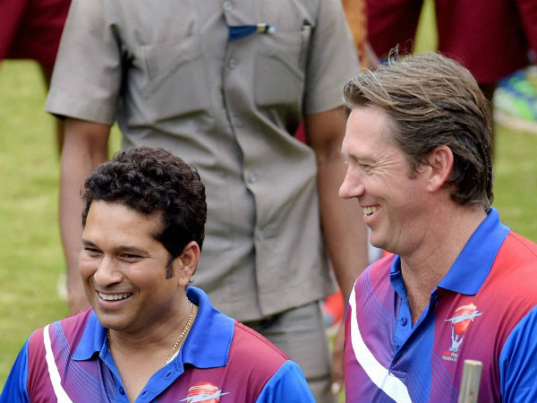 Tendulkar (left) and McGrath at MRF Pace Foundation on Friday (August 21)