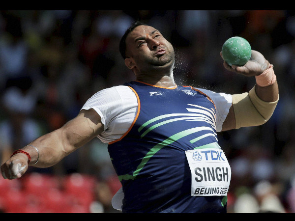 Inderjeet Singh competes in men's shot put qualification at the World Athletics Championships at the Bird's Nest stadium in Beijing, Sunday