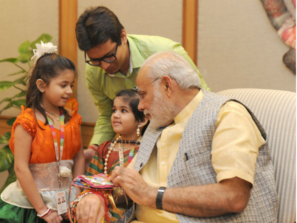 PM with kids on occassion of Raksha Bandhan