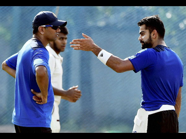 File photo: Dravid (left) and Kohli during a training session in Chennai recently