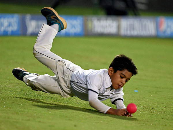 Dravid's second son Anvay dives to take a catch at Rajasthan Royals' practice session during IPL in May this year