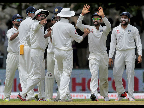 File photo: Indian players celebrate a wicket in Sri Lanka Test series
