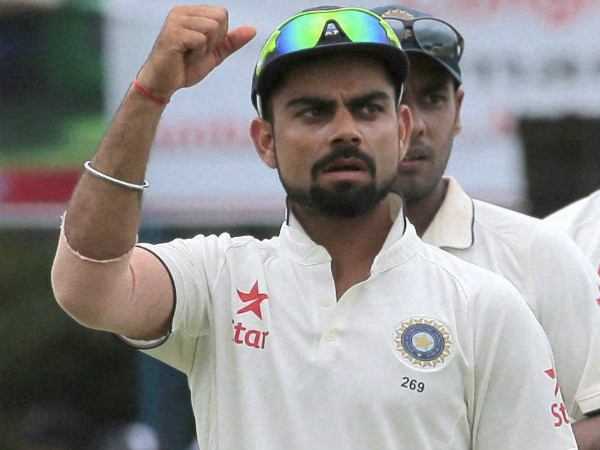 Kohli celebrates a wicket during Sri Lanka Test series