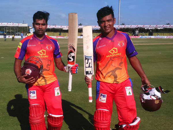 Vinay (left) and Jonathan pose for a picture after the victory. Photo from Belagavi Panthers' Facebook page