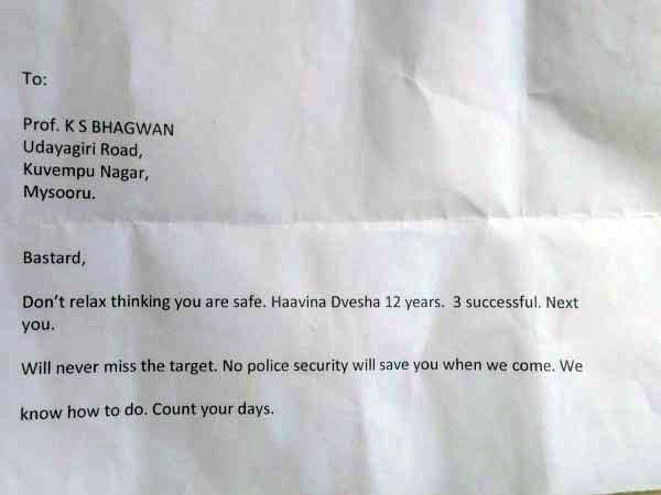 Karnataka Writer Receives Threat Latter