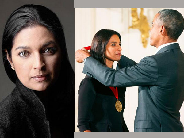 President Barack Obama presented the 2014 National Medals of Arts and Humanities to Pulitzer Prize winning Indian-American author Jhumpa Lahiri