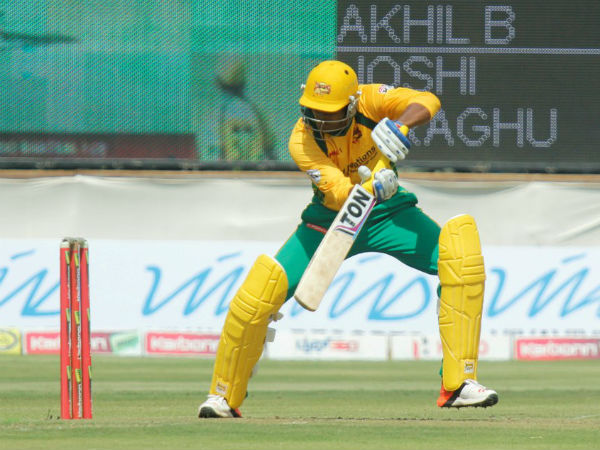 Akhil plays a shot on way to 69 not out
