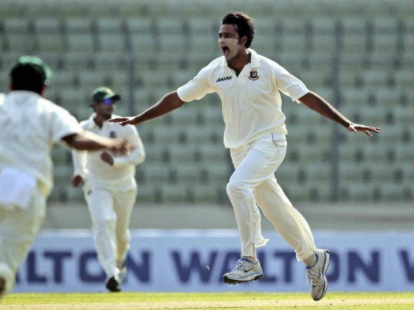File photo of Shahadat Hossain celebrating a wicket in a Test match