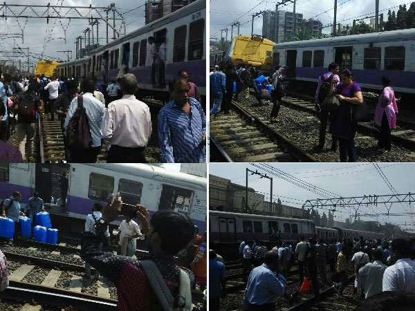 Suburban train derails in Mumbai