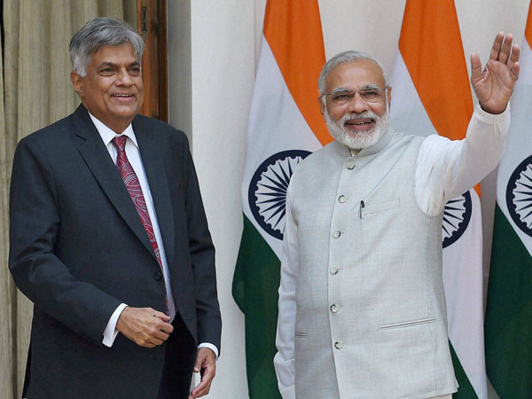 Prime Minister Narendra Modi with his Sri Lankan counterpart Ranil Wickremesinghe before their meeting at Hyderabad House in New Delhi.
