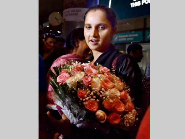 Sania Mirza arrives at the Rajiv Gandhi International Airport in Hyderabad on Tuesday.