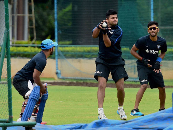 Suresh Raina (centre), Unmukt Chand (right) and Kedar Jadhav during a practice session in Bengaluru on Tuesday