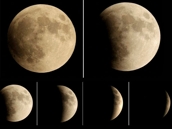 Kansas City : This five picture combo taken over a one hour period shows the so-called supermoon in various stages as it changes from almost full to almost totally eclipsed Sunday, Sept. 27, 2015, in Kansas City, Mo. It was the first time Sunday that the events have made a twin appearance since 1982, and they won't again until 2033.