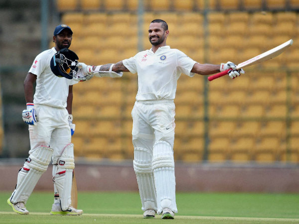 Shikhar Dhawan celebrating his ton for India A against Bangladesh A