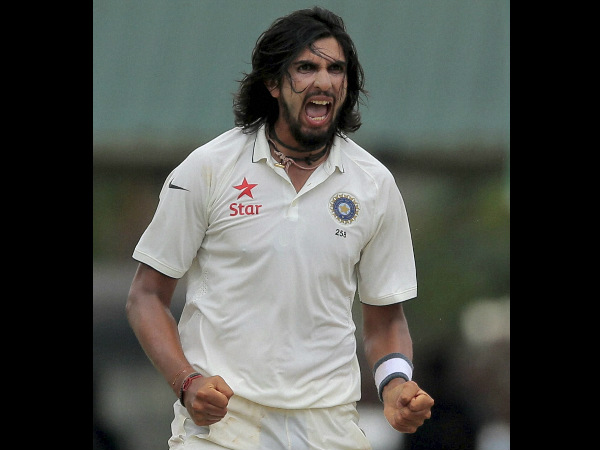 Ishant Sharma reacts after taking a Sri Lank wicket