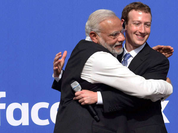 Narendra Modi with Facebook chief Mark Zuckerberg
