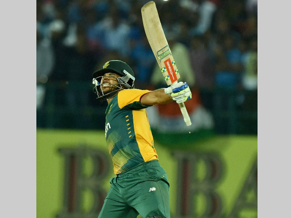 JP Duminy is ecstatic after winning the game for South Africa