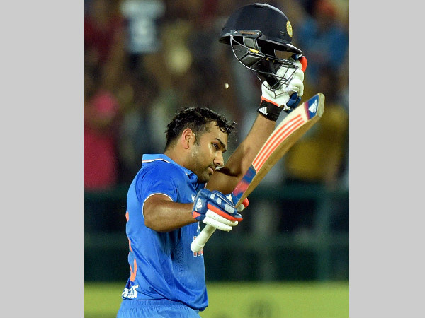 Rohit Sharma celebrates his maiden T20I ton