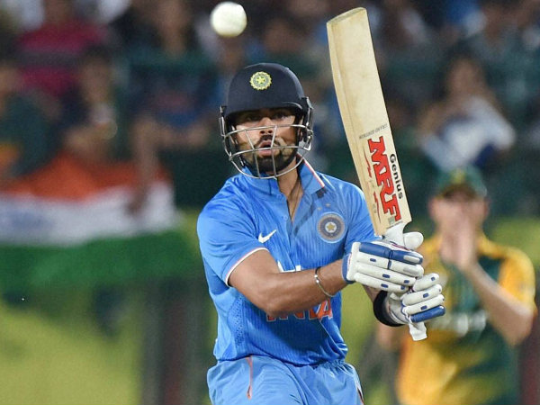 Virat Kohli plays a shot in the 1st T20I against South Africa