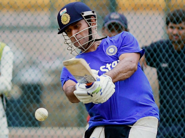A file picture of MS Dhoni batting in 'nets'
