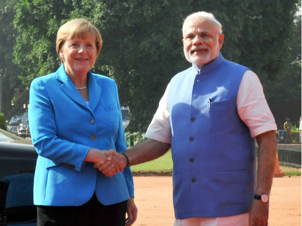 Cancellor Angela Merkel with PM Modi in New Delhi