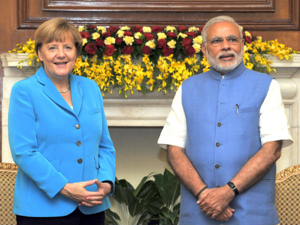 Modi, Merkel at Hyderabad House in New Delhi