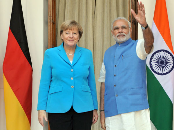 PM Modi and Chacellor Merkel in New Delhi