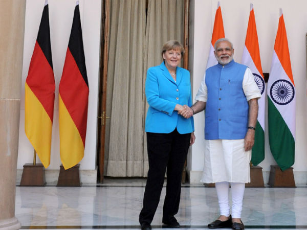 German Chacellor with PM Modi in New Delhi