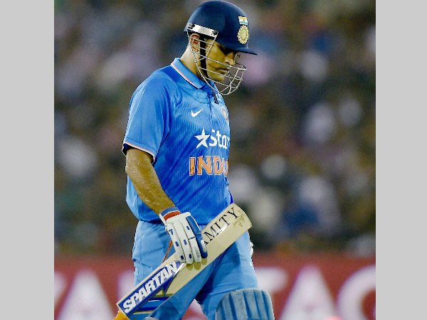 Dhoni heads back to the pavilion after scoring 5 runs in the 2nd T20I against South Africa in Cuttack