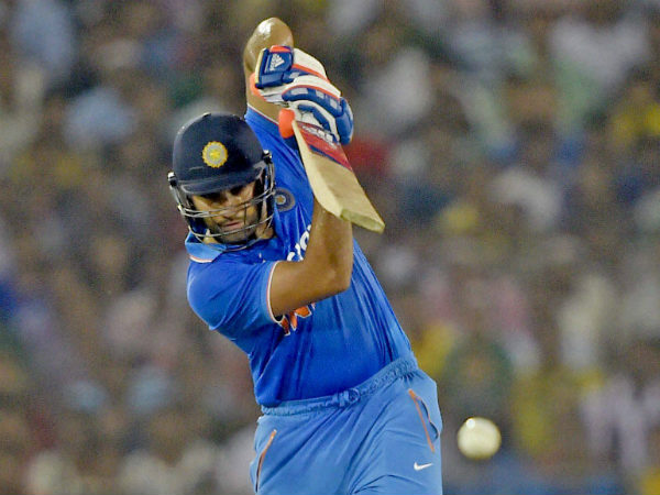 Rohit Sharma plays a shot during the 2nd T20I