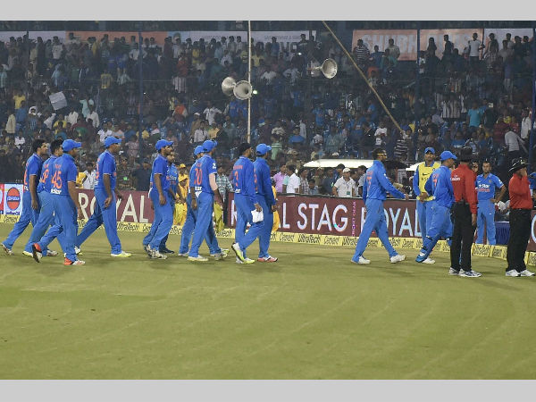 Indian players go out of the ground after crowd trouble in the 2nd T20I against South Africa in Cuttack