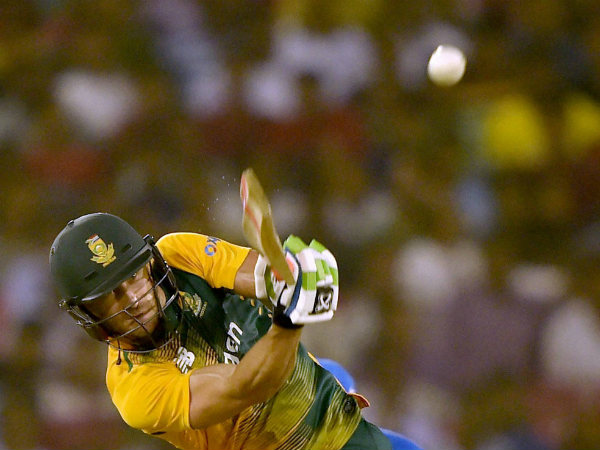 Faf du Plessis plays a shot during the 2nd T20I