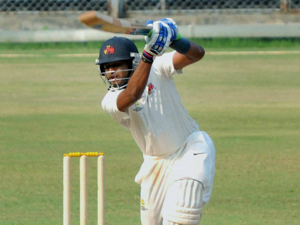Shreyas Iyer of Mumbai bats during the Ranji Trophy match against Punjab at Wankhede Stadium in Mumbai on Thursday