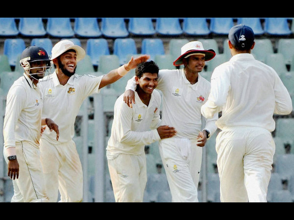 Mumbai players celebrate the dismissal of Punjab captain Yuvraj Singh (not in picture)