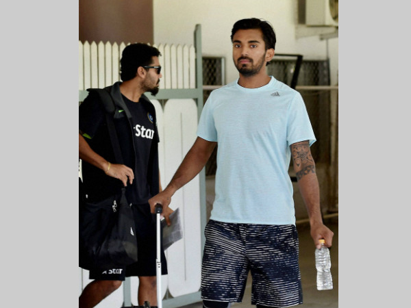A file picture of KL Rahul (right) at the National Cricket Academy in Bengaluru recently