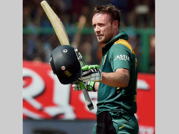 AB de Villiers is seen here celebrating his century against India in the 1st ODI in Kanpur on October 11
