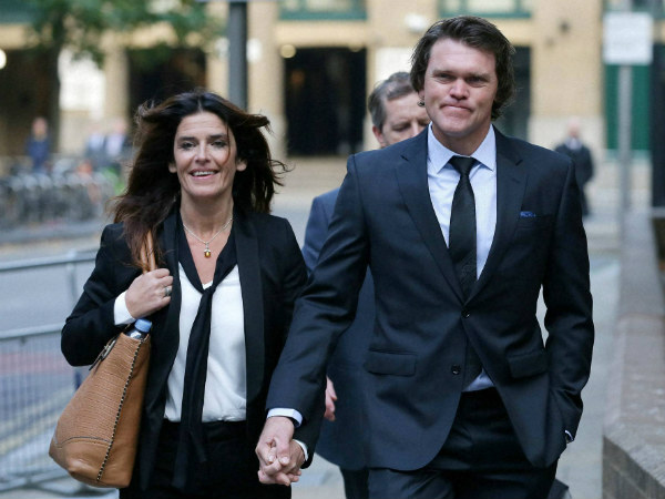 Former New Zealand cricketer Lou Vincent arrives at Southwark Crown Court, with his partner Susie Markham, on Monday