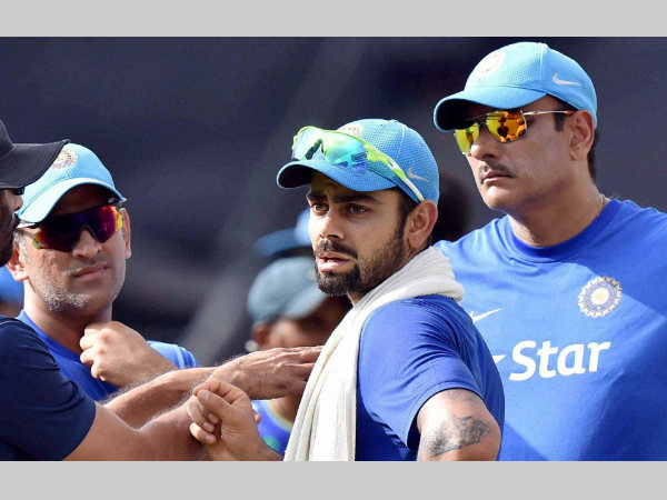 Dhoni (left) Kohli (centre) and team director Ravi Shastri should pick the right combination for 2nd ODI