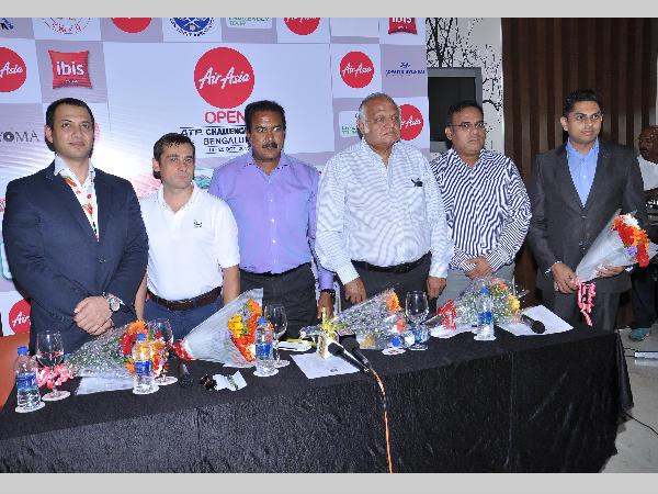 From left: Gaurav Rathore, Commericial Director, Air Asia India, Roberto Rainera, ATP Supervisor from Italy, BNS Reddy, Assistant Commissioner of Police and Treasurer, KSLTA, Ramaswami, Joint Secretary, KSLTA and Sunil Yajaman, Tournament Director at the media briefing of the Air Asia Open on Thursday.