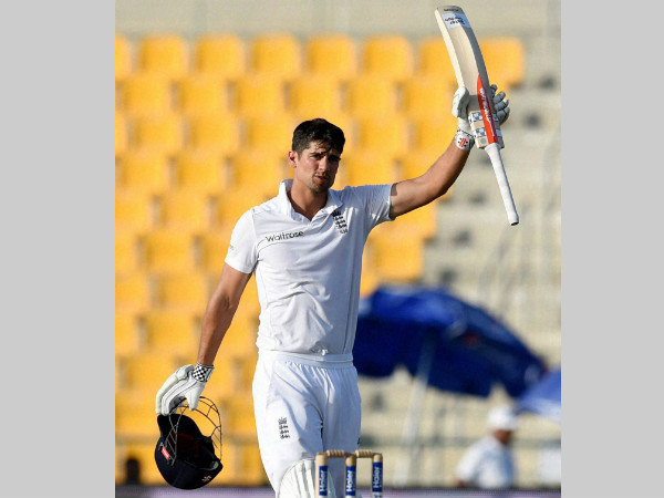Cook celebrates his 250 runs during his epic knock in Abu Dhabi