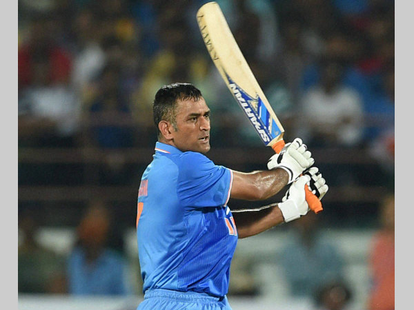 MS Dhoni plays a shot during the 3rd ODI in Rajkot